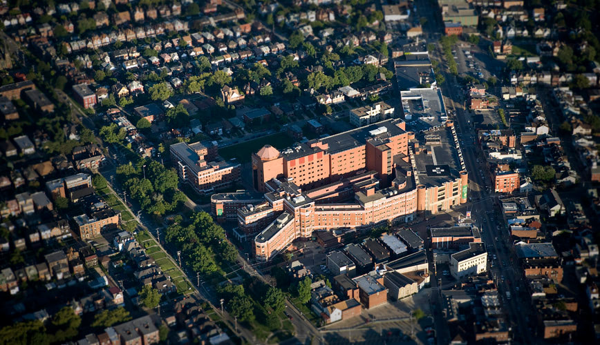 Aerial photograph of West Penn Hospital in Pittsburgh, Pennsylvania.