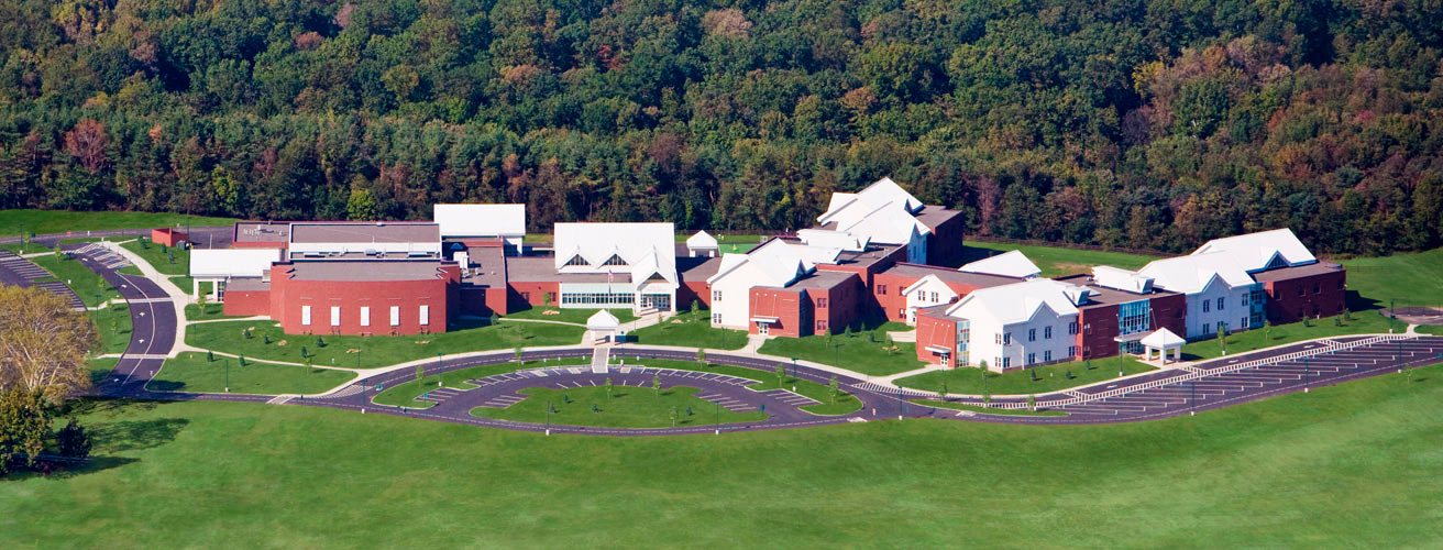 Aerial photograph of Eden Hall Upper Elementary School, a school in the Pine-Richland School district in western Pennsylvania.