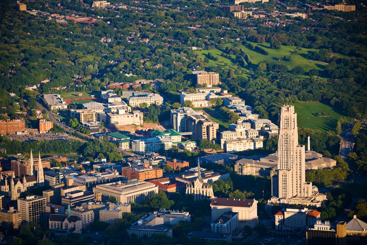 Aerial photograph of the University of Pitt and Carnegie Mellon University.