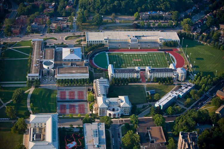 Aerial photograph of Carnegie Mellon University, Pittsburgh, Pennsylvania.