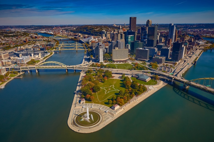 Aerial photo of downtown Pittsburgh and the point from over the river.