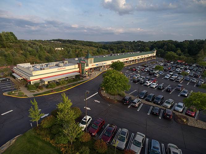 Aerial photo of a strip mall in Pennsylvania